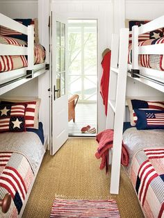 A red-white-and-blue theme is perfect for a summer homes bunkroom. With just patriotic bed linens and small area rug, this kids room is playful and filled with color. (Photo: Laurey W Glenn)