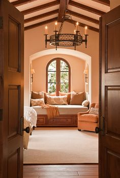 Peach Bathroom Design Ideas, Pictures, Remodel, and Decor - page 25 Dream Bedroom, Master Bedroom, Bedroom Decor, Bedroom Reading Nooks, Mediterranean Bedroom, Tuscan Design, Bedroom Photos, Attic Spaces, New House Plans