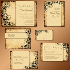 Swirling Design Vintage Inspired Wedding Invitation Suite with Modern Character