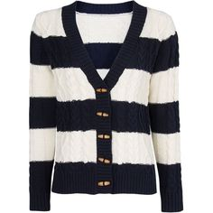 MANGO Striped cable-knit cardigan found on Polyvore