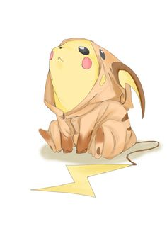 Pikachu dressed as Raichu. Pokemon. Dream big, little dude. Dream big.