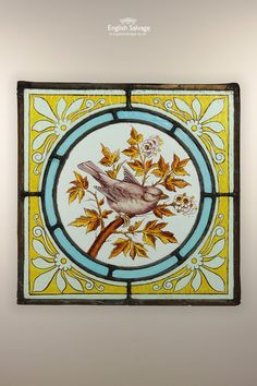 Stained Glass Lead Panel with Bird Roundel