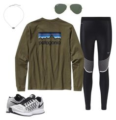 """currently obsessed w these shoes"" by jazmintorres1 ❤ liked on Polyvore featuring NIKE, Patagonia, Kendra Scott and Ray-Ban"