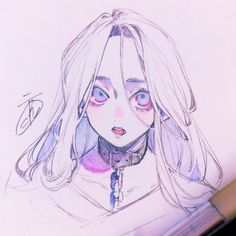 Anime Drawings Sketches, Anime Sketch, Cute Drawings, Drawing Faces, Cute Art Styles, Cartoon Art Styles, Anime Art Girl, Manga Art, Image Manga