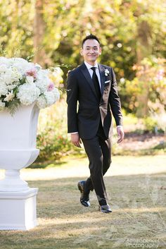 Groom walking down the aisle during his garden wedding ceremony. Large white urn floral arrangements helped define the aisle. Atlanta Botanical Garden, Botanical Gardens, Wedding Shoot, Wedding Ceremony, Garden Planner, Garden Weddings, Atlanta Wedding, Walking Down The Aisle, Large White