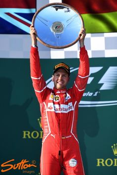 sebastian vettel - winner of the 2017 Australian GP - the first time Ferrari ever won in a hybrid era dominated by Mercedes