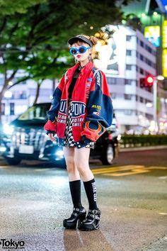 Harajuku Girl w/ Double Bun Hairstyle, WC Checkered Skirt, Yosuke Platforms, UNIF Rainbow Backpack & Kangol, Visor Tokyo Fashion, Japan Street Fashion, Harajuku Fashion, Fashion Fashion, Harajuku Style, Fashion Tape, 2000s Fashion, Fashion Quotes, Fashion Black