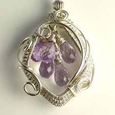 Pink Amethyst and Silver Sculpted Necklace Eos Goddess
