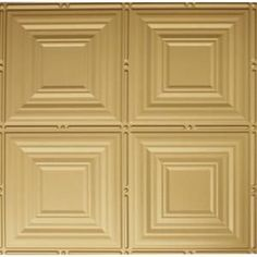 x 2 ft. Brass Lay-in Tin Ceiling Tile for T-Grid Systems, Metallic Brass Plastic Ceiling Tiles, Tin Ceiling Tiles, Ceiling Panels, Basement Ceiling Insulation, Basement Ceiling Options, Ceiling Ideas, Basement Ideas, Wall Molding, Diy Molding