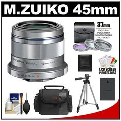 "Olympus M.Zuiko 45mm f/1.8 ED Lens (Silver) with 3 UV/FLD/PL Filters + Battery + Cleaning Accessory Kit for Pen 4/3 Digital Cameras by Olympus. $414.95. Kit includes:♦ 1) Olympus M.Zuiko 45mm f/1.8 ED Lens (Silver)♦ 2) Spare BLS-1/BLS-5 Battery for Olympus♦ 3) Zeikos 3-Piece Multi-Coated Glass Filter Kit (37mm UV/FLD/PL) - Silver♦ 4) Precision Design PD-C20 Digital Camera/Camcorder Case♦ 5) Zeikos 50"" ZE-TR26A Compact Travel Tripod♦ 6) Precision Design 6-..."