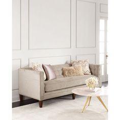 Massoud Lavinia Sofa (£3,130) ❤ liked on Polyvore featuring home, furniture, sofas, taupe, nail head sofa, nailhead sofa, tufted couch, nailhead furniture and tufted furniture