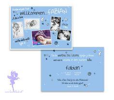 Babykarte Geburtskarte Fabian von Feenstaub auf DaWanda.com