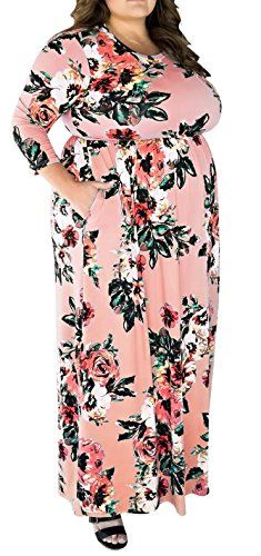 fe0814f7cc0 Plus Size Tshirt Maxi Dresses For Women Pink Floral Party Evening Long Dress  4XL Delcoce Women s