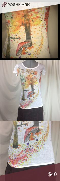 """Masha Dyans Mushroom Tee from UO Adorable vintage Urban Outfitters sheer tee with orange, brown and red autumn trees and black, yellow and purple mushroom girl. One of my all time favorites. 25"""" bust 25"""" length Urban Outfitters Tops Tees - Short Sleeve"""