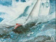 "Willi Gottschalk, Acryl auf Papier, A2, ""Yachtracing"""