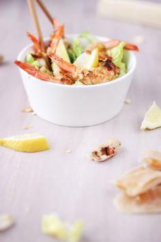 Salade de gambas panées aux cacahuètes