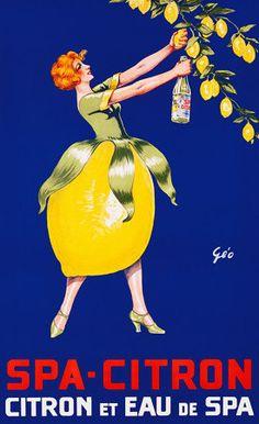 Spa Citron et Eau de Spa by Francois Geo Lemon Citrus Drink Vintage Poster Print
