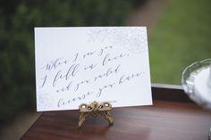Elegant Lavender Plantation Elopement   Calligraphy Shakespeare wedding sign