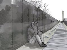 This is amazing, showing Alfred by the Vietnam memorial in DC ♥ Sad but beautiful (America/Alfred F. Jones - Hetalia - By Upsilon-Rassilon on Deviantart)