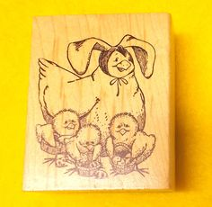 Easter stamps Delafield H722 Tim Bowers Chicken baby chicks baskets rubber stamp