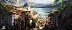 Assassin's Creed IV: Black Flag: City on Slope , Donglu Yu on ArtStation at http://www.artstation.com/artwork/assassin-s-creed-iv-black-flag-city-on-slope