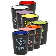 2 oz. Two Tone Ceramic (Stoneware) Shot Glass - Color