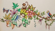Johanna Basford magical jungle page colored by me with colored pencils # #johannabasford #carandachepencils #carandachepablos #adultcoloringbook