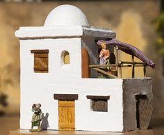 Casa en el pueblo de Belén Nativity House, Diy Nativity, Christmas Nativity Scene, Christmas Villages, Christmas Manger, Pottery Houses, Ceramic Houses, Diy Arts And Crafts, Home Crafts