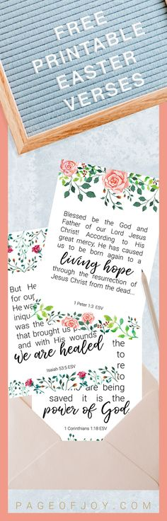 Easter Bible verse printable cards. These free printable Easter cards have easter-themed scriptures perfect for notecards, easter invitations, place cards, framed easter prints and Easter basket fillers! Enjoy!