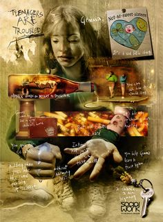 Dave McKean - Press Ad & Poster - 2003 - Social Care Troubled. Graphic Design - Illustration - Advertising (Raise Awareness)
