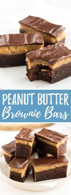 These Peanut Butter Brownie Bars are so easy to make and taste so good! Fudgy brownies and peanut butter - two of my favorite things combine to make this super delicious treat.
