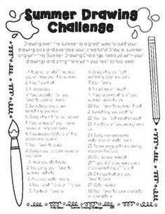 Summer Drawing Challenge for Elementary Summer Drawings, Drawing Challenge, Teacher Newsletter, Teacher Pay Teachers, Prompts, Homeschool, Encouragement, Challenges, Classroom