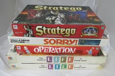 Board Game Lot of 5 Vintage, Stratego, Sorry, Operation, Life (1979 & 1985) #Mixed