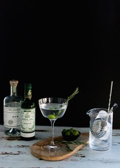 Smoked Rosemary Olive Oil Gin Martini