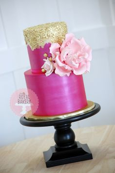 The Royal Bakery - Hot pink lustred cake with rustic-painted gold sequins and oversize peony.