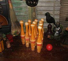 Primitive Vtg Antique Dealer Wood Skittle Bowling 10 Pins 1 Ball Child Toy Game #NaivePrimitive