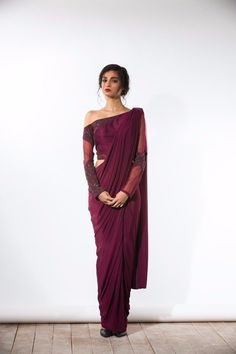 Wine One-Shouldered Concept Sari