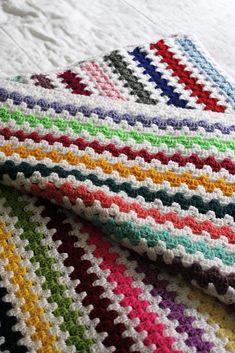 Look What I Made: White Granny Stripe Blanket