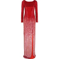 Jenny Packham Sequined silk-voile gown (£2,820) ❤ liked on Polyvore featuring dresses, gowns, gown, crimson, sequin ball gown, silk evening gowns, red gown, silk dress and sequin evening dresses