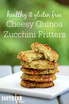 The perfect make ahead meal prep recipe, these Healthy Cheesy Quinoa Zucchini Fritters will become a family favorite. An easy way to sneak in some extra veggies, these are healthy, gluten free, low fat, vegetarian, meat free, meatless, grain free and a clean eating recipe
