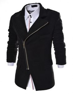 Doublju - Casaco Sobretudo de Lã com Zipper Assimétrico (APJK) Compre roupas de qualidade, com design inovador e preço justo!