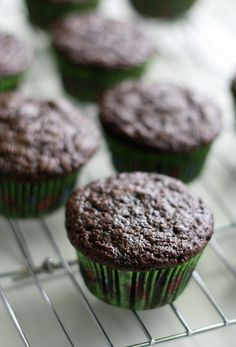 A rich, chocolate zucchini muffin recipe with chocolate chips that is dairy free and egg free. These vegan muffins are a real treat! Vegan Baking Recipes, Dairy Free Recipes, Real Food Recipes, Snack Recipes, Yummy Food, Chocolate Zucchini Muffins, Vegan Muffins, Vegan Cupcakes, Vegan Cake