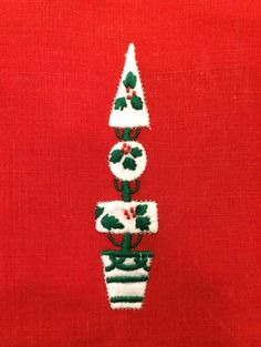 Topiary Christmas Tree Cocktail Napkins Constance Leiter Set of 6 Marghab | eBay