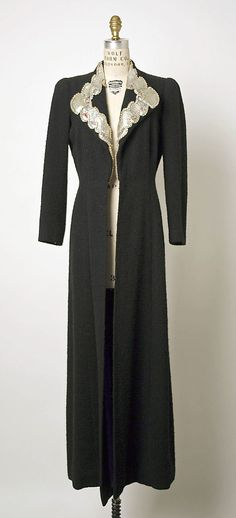 Coat, Evening.  Elsa Schiaparelli  (Italian, 1890–1973).  Date: ca. 1935. Culture: French. Medium: wool, leather, glass. Dimensions: Length at CB: 59 in. (149.9 cm).