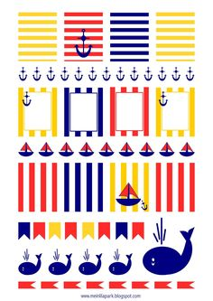 Free printable nautical planner stickers : striped - Etiketten - freebie | MeinLilaPark – DIY printables and downloads