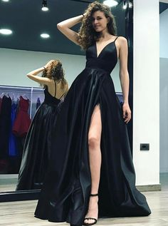 A-Line Deep V-Neck Sweep Train Split Side Black Satin Backless Prom Dress