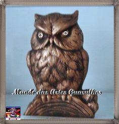 coruja raivosa com 16 cm em gesso para pintar ou pintada sob encomenda