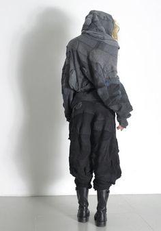 Steinwidder fashions made form damaged sock stock Jan Kath, Fashion Art, Fashion Design, Boro, Refashion, Canada Goose Jackets, Upcycle, Winter Jackets, Shapes
