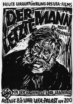 """Poster/art for """"Der Letzte Mann"""" (The Last Laugh), directed by F.W. Murnau, 1924"""