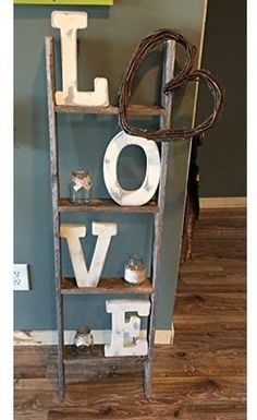 4 ft Blanket Ladder - Rustic Ladder Wood Wall Shelf You are in the right place about home decor habitacio - Rustic Ladder, Ladder Shelf Decor, Rustic Shelves, Rustic Barn, Barn Wood, Vintage Ladder, Wood Wall Shelf, Country Farmhouse Decor, Modern Farmhouse
